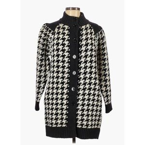 Love Moschino Houndstooth Wool Long Cardigan